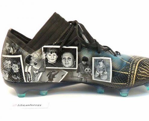 رونمایی مسی از طرح سفارشی شده کفش فوتبال خود ، طراحی شده توسط LILI CANTERO
