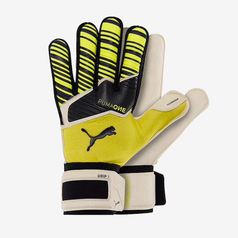 Puma-One-Grip-1-RC-Mens-GK-Gloves-Roll-Finger-Yellow-Alert-Puma-Black
